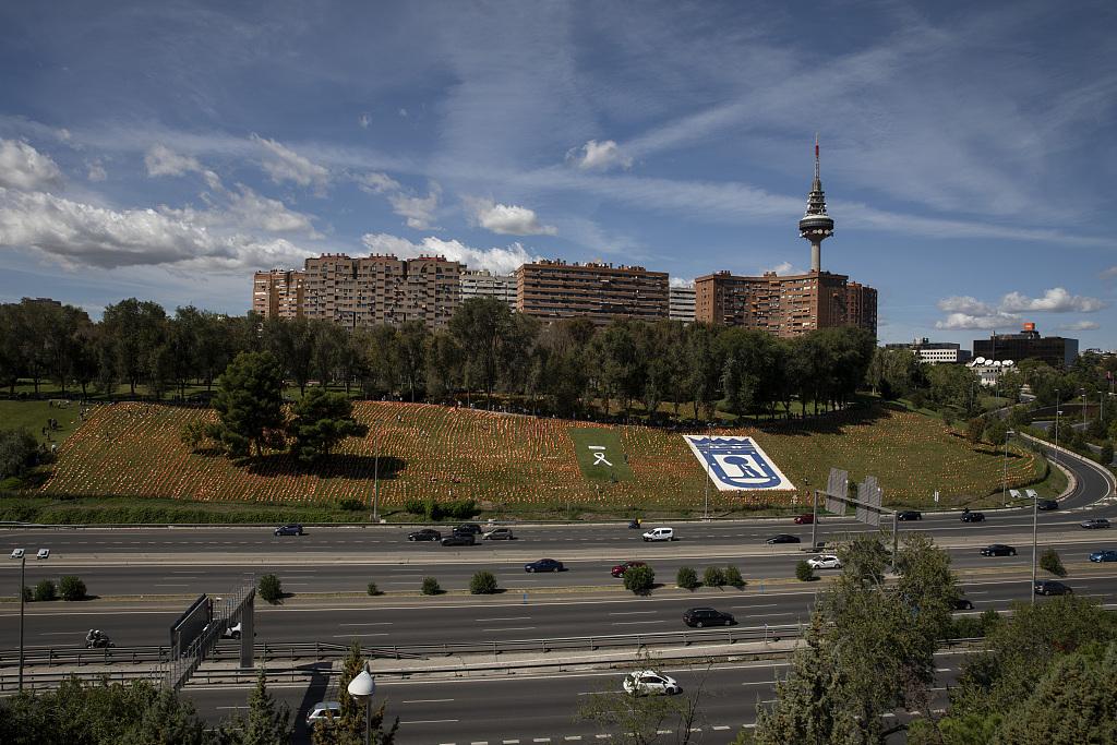 西班牙公園擺放大量國旗 悼念新冠死者-圖2