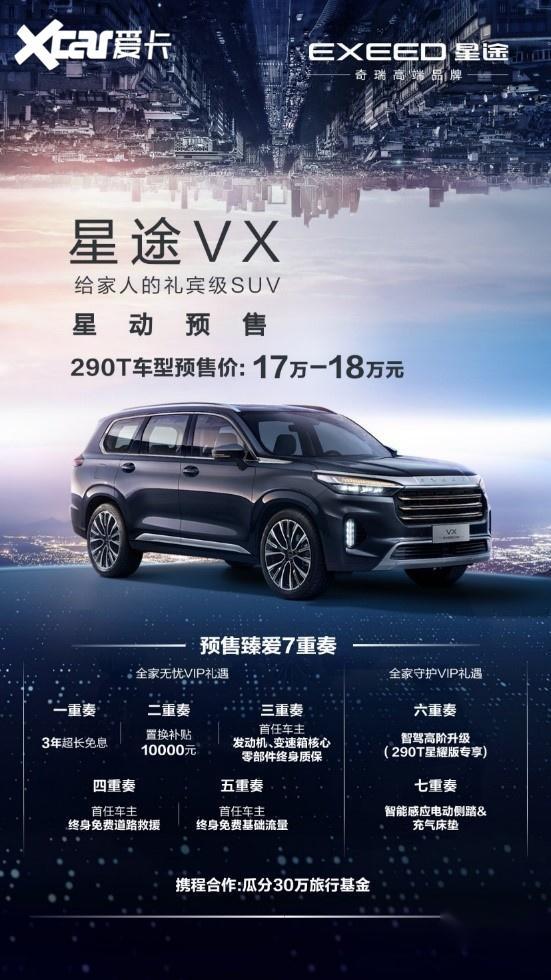 EXEED星途旗艦大七座SUV VX 290T車型預售開啟-圖7