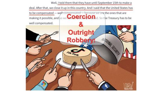 華春瑩發推, 配瞭張漫畫: 這與國傢安全或補償無關, 這是脅迫和公然搶劫!-圖2