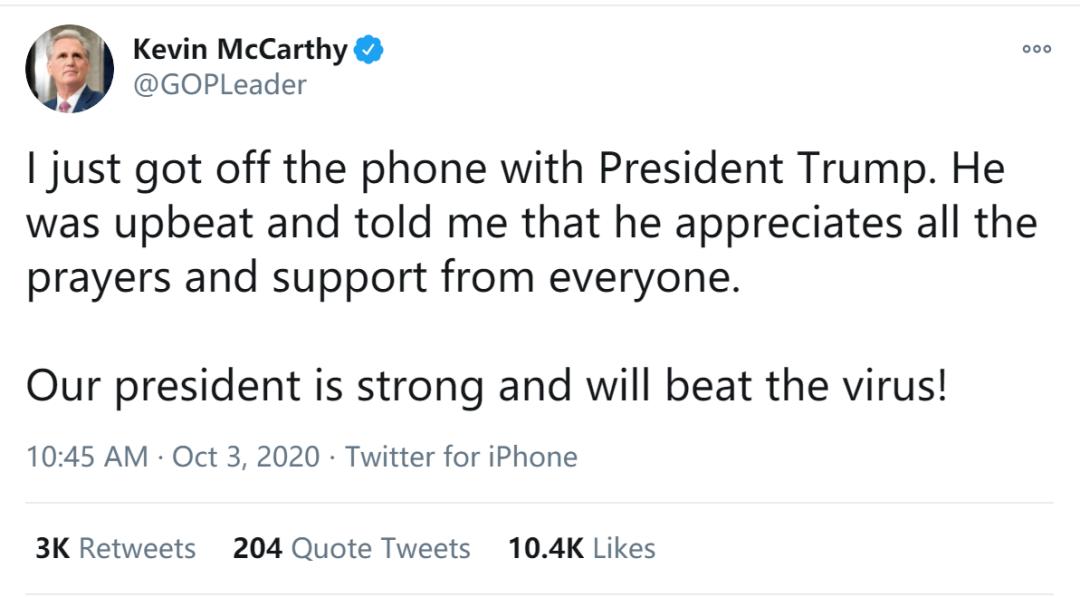 剛剛, 特朗普發瞭入院後第一條推特! 美眾院共和黨領袖: 剛跟總統通完電話, 他樂觀向上-圖4